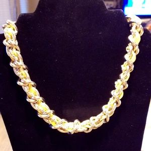 Ann Taylor Yellow Leather and Gold-tone Necklace